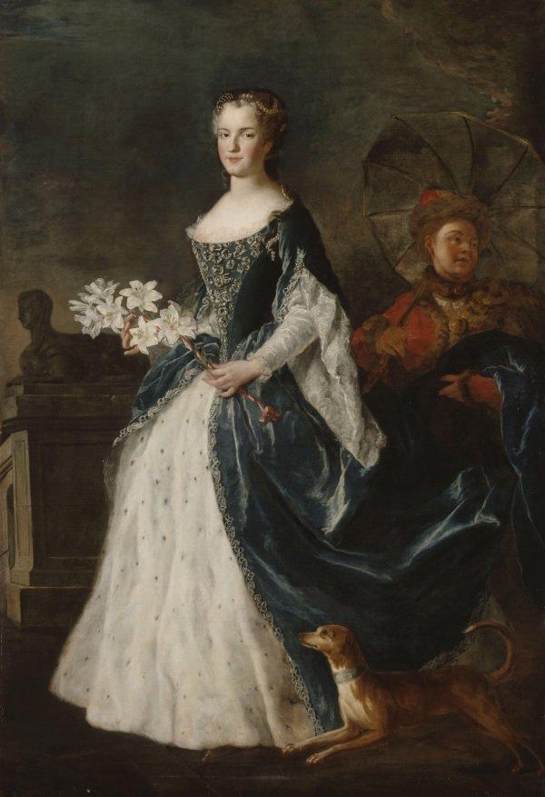 Portret Marii Leszczyńskiej, królowej Francji, żony Ludwika XV. Portret Marii Leszczyńskiej, królowej Francji, żony Ludwika XV. Źródło: Alexis Simon Belle, ok. 1730, Pałac wWersalu, domena publiczna.