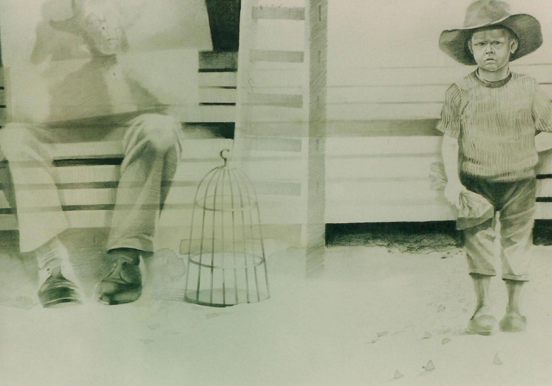 """Ilustracja przedstawiająca rysunek Marka Szarego pt. """"Marzyciel"""". Ilustracja przedstawia chłopca wkowbojskim kapeluszu. Obok niego stoi klatka dla ptaków oraz siedzi mężczyzna."""