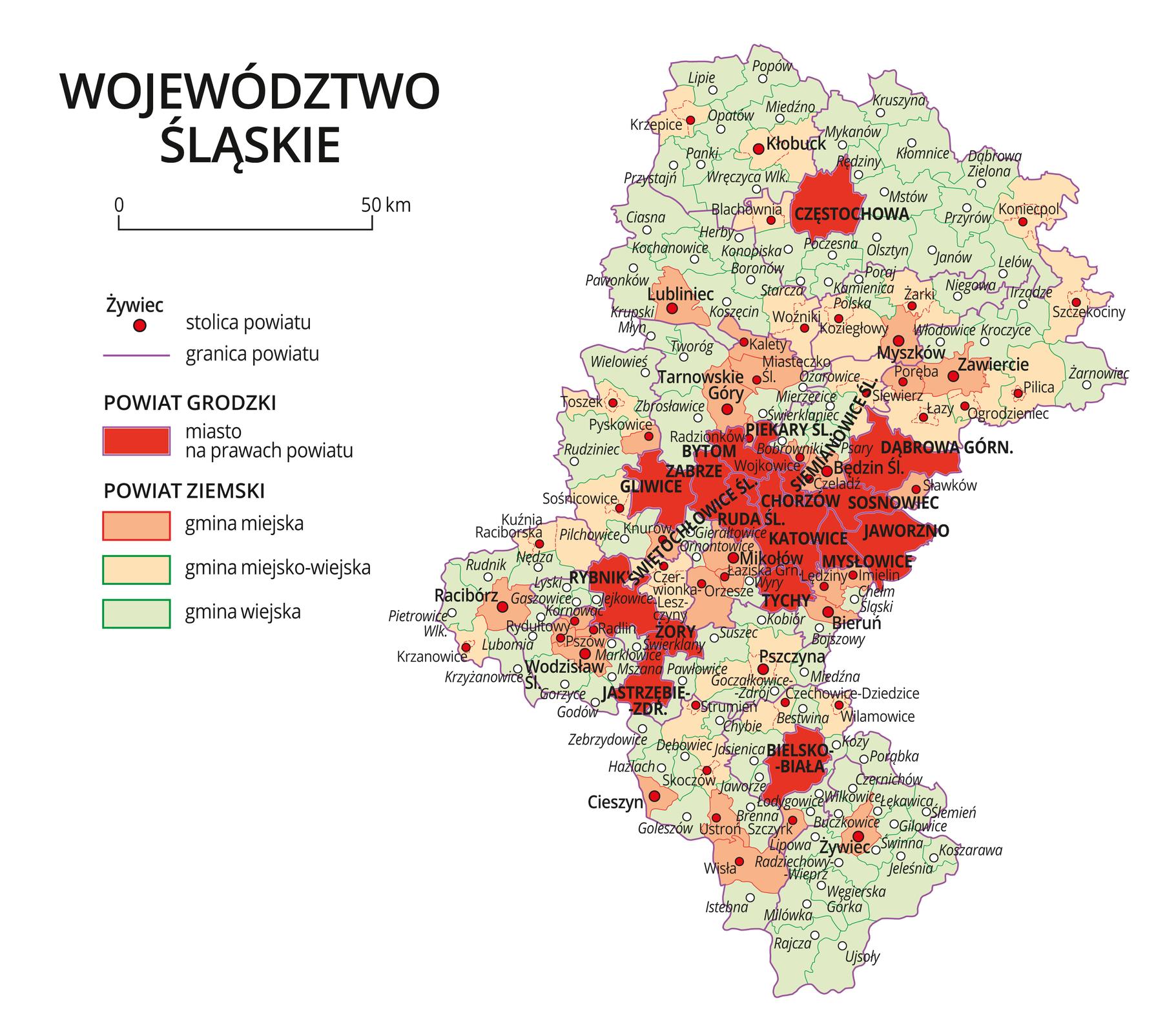 Mapa województwa śląskiego. Na mapie fioletowymi liniami zaznaczono granice powiatów ziemskich, dużymi czerwonymi kropkami zaznaczono miasta będące stolicami powiatów. Wobrębie powiatów ziemskich kolorami wyróżniono gminy miejskie, miejsko-wiejskie iwiejskie. Czerwonym kolorem wyróżniono powiaty grodzkie zmiastami na prawach powiatu, miasta te opisano dużymi literami. Kolory iznaki użyte na mapie opisano wlegendzie. Wlegendzie podziałka liniowa.