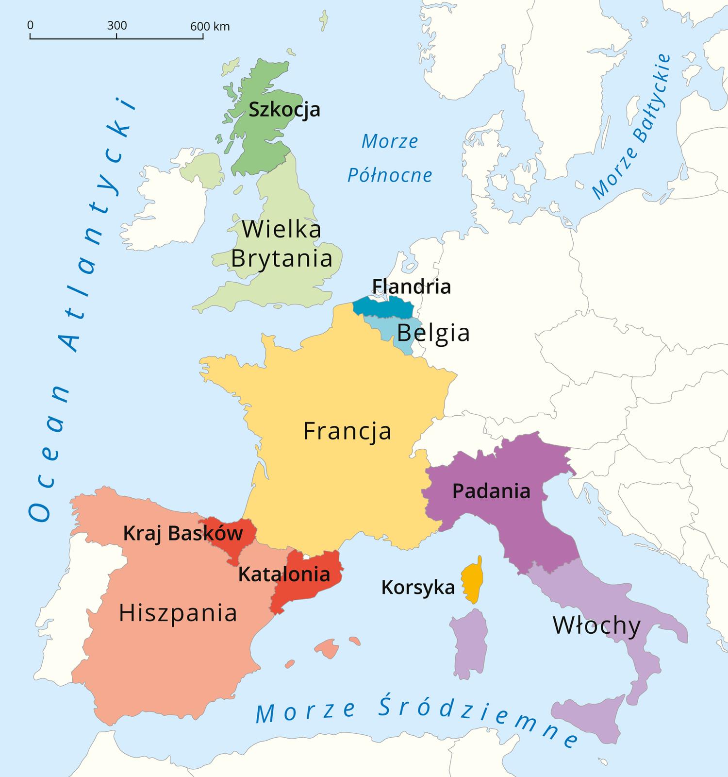 Na ilustracji mapa Europy. Kolorami zaznaczone państwa. Wich obrębie ciemniejszym odcieniem danego koloru zaznaczone potencjalnie nowe państwo, mogące powstać wEuropie. WWielkiej Brytanii – Szkocja, wHiszpanii – Kraj Basków iKatalonia, we Francji – Korsyka, WBelgii – Flandria, we Włoszech – Padania.
