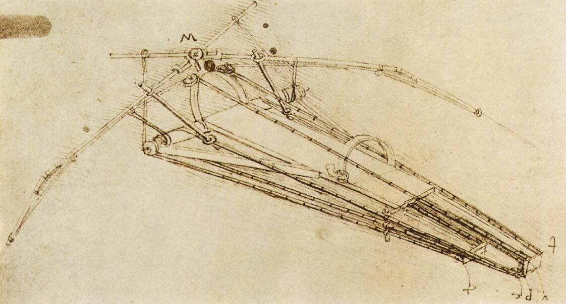 Ornitopter Źródło: Leonardo da Vinci, Ornitopter, domena publiczna.