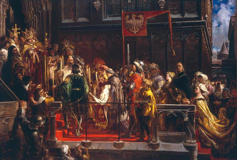 Chrzest Władysława Warneńczyka wkatedrze na Wawelu Wchwili narodzin pierworodnego syna Władysław Jagiełło był jak na ówczesne standardy człowiekiem starym – miał ok. 62 lat, awedług innych przekazów nawet 72 lata (nie znamy dokładnej daty urodzin króla). Od tego momentu, aż do śmierci dziesięć lat później, głównym staraniem władcy było zapewnienie sukcesji dla swoich dzieci (trzy lata po Władysławie urodził się jeszcze Kazimierz – później zwany Jagiellończykiem). Panowie polscy obawiali się, że koronacja (a nawet jedynie elekcja za życia poprzednika) dziecka spowoduje, że ewentualne przysięga potwierdzająca prawa Królestwa nie będzie miała mocy prawnej, gdyż złoży ją osoba niepełnoletnia. Ostatecznie król za cenę wielu ustępstw zdołał zapewnić królewiczowi tron. Źródło: Jan Matejko, Chrzest Władysława Warneńczyka wkatedrze na Wawelu, 1881, domena publiczna.