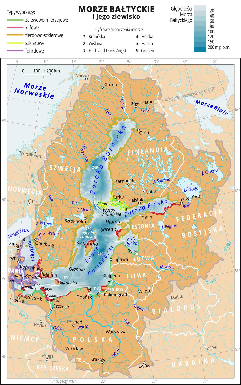 Ilustracja przedstawia mapę Morza Bałtyckiego. Natężeniem koloru niebieskiego przedstawiono głębokości , przy brzegach najpłycej. Kolorowymi konturami zaznaczono typy wybrzeży: zalewowo-mierzejowe, klifowe, fierdowo-szkierowe, szkierowe, föhrdowe. Na mapie opisano nazwy państw. Oznaczono iopisano główne miasta. Mapa pokryta jest równoleżnikami ipołudnikami. Dookoła mapy wbiałej ramce opisano współrzędne geograficzne co pięć stopni. Wlegendzie umieszczono iopisano kolory użyte na mapie.