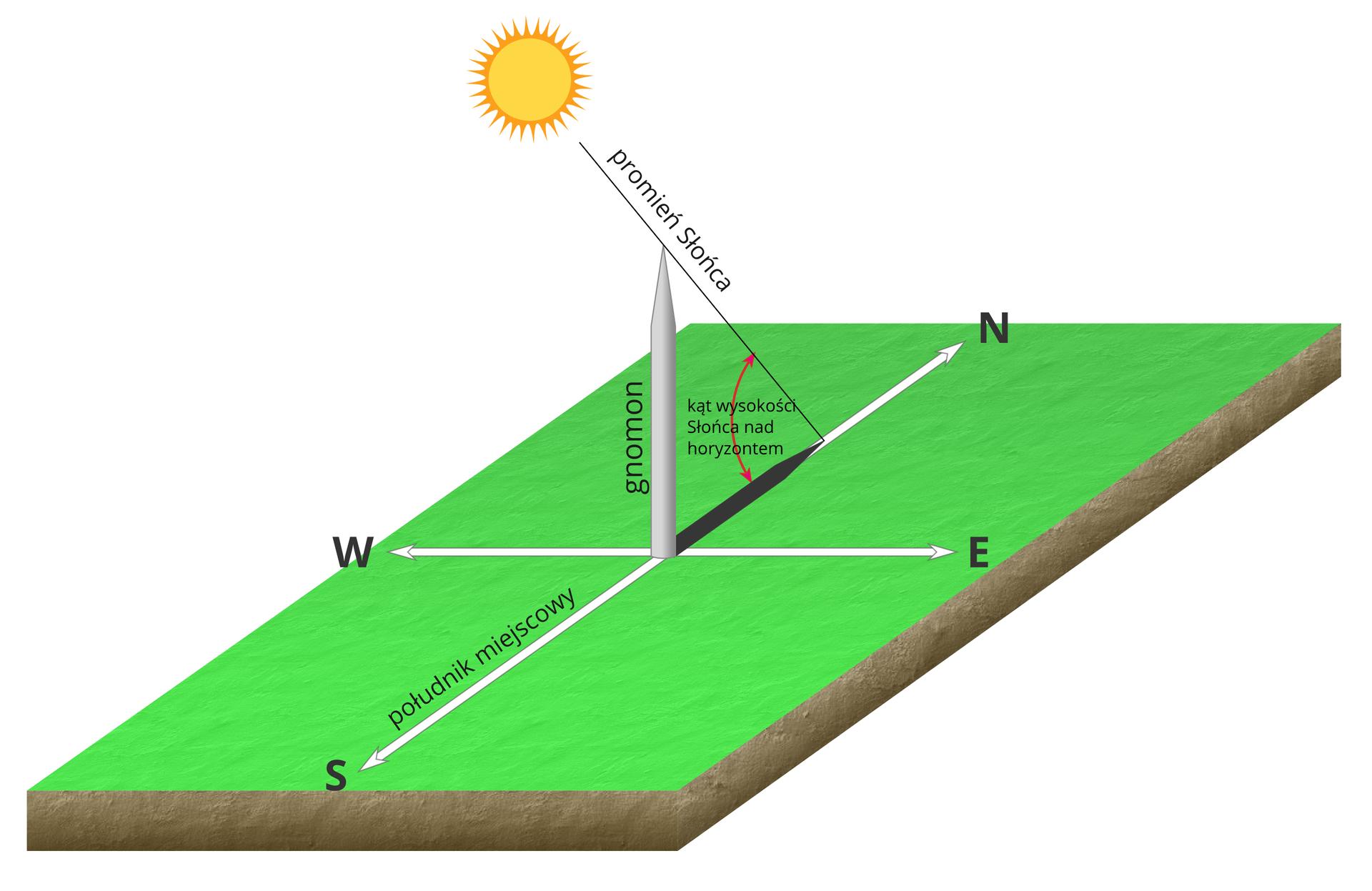 Ilustracja przedstawia fragment podłoża terenu wpostaci cienkiego prostopadłościanu, krótszym bokiem do obserwatora. Powierzchnię przecinają dwie białe linie. Groty na końcach linii odpowiednio wskazują główne kierunki geograficzne. Litera N– północ, S– południe, W– zachód, E– wschód. Wzdłuż linii biegnącej na kierunku północ-południe napis: południk miejscowy. Wmiejscu przecięcia linii znajduje się wbity pionowo słupek. To gnomon. Cień gnomona pokrywa się zpionową linią biegnącą na północ. Powyżej prostopadłościanu żółte Słońce. Od Słońca przez górny koniec gnomona do końca cienia gnomona biegnie linia. To promień Słońca. Kąt pomiędzy cieniem alinią promienia Słońca to kąt wysokości Słońca nad horyzontem.