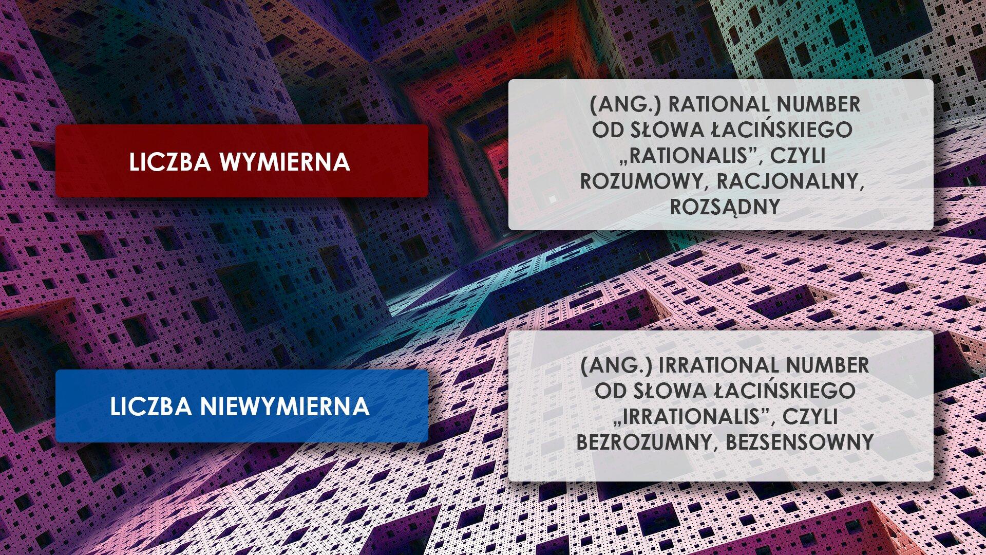 """Ilustracja przedstawia informację na temat pochodzenia terminów : """"Liczba wymierna"""" i""""Liczba niewymierna"""". Na tle """". kolorowej przestrzennej kompozycji wykonanej zperforowanych bloczków rozmieszczone są cztery prostokąty wewnątrz, których umieszczono napisy. Wgórnej lewej części znajduje się czerwony prostokąt, wktórym znajduje się tekst :LICZBA WYMIERNA"""". Obok niego zprawej strony, na tym samym poziomie umieszczony został jasnoszary prostokąt, wktóry wpisano wytłumaczenie pochodzenia tego terminu: """"(ANG.) RATIONAL NUMBER OD ŁACIŃSKIEGO""""RATIONALIS"""", CZYLI ROZUMOWY, RACJONALNY, ROZSĄDNY"""". Poniżej czerwonego prostokąta znajduje się niebieski prostokąt wktórym znajduje się tekst : """"LICZBA NIEWYMIERNA"""". Obok niego zprawej strony, na tym samym poziomie umieszczony został jasnoszary prostokąt, wktóry wpisano wytłumaczenie pochodzenia nazwy liczby niewymiernej: """"(ANG.) IRRATIONAL NUMBER OD ŁACIŃSKIEGO""""IRRATIONALIS"""", CZYLI BEZROZUMNY, BEZSENSOWNY""""."""