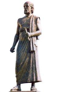 Zdjęcia przedstawia kamienny pomnik Arystarcha zSamos. Mężczyzna wwieku ok. 60 lat. Ubrany wszatę. Na stopach sandały. Włosy lekko falujące, czoło wysokie, widoczna łysina. Gęsta broda iwąsy. Wlewej ręce trzyma zwój papieru.