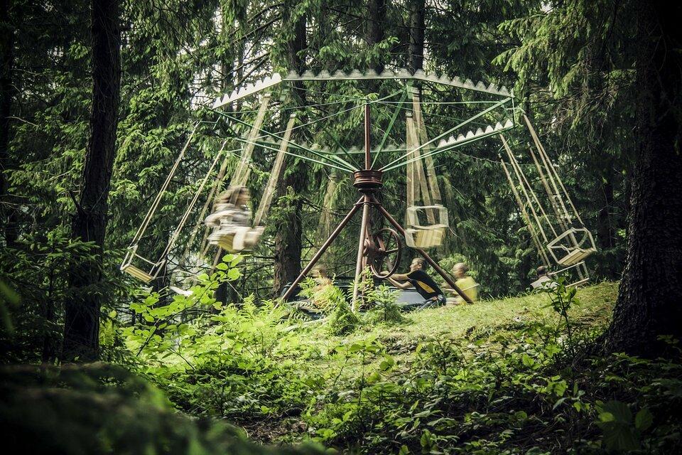 Zdjęcie przedstawia zabawę dzieci na karuzeli łańcuchowej stojącej wlesie lub gęstym parku. Fotograf obserwuje bawiących się zza drzew. Karuzela napędzana jest ręcznie za pomocą mechanizmu zdużym kołem zamachowym wsamym środku, którym obraca chłopiec ubrany wczarnożółtą koszulkę. Reszta dzieci siedzi na krzesełkach. Obraz wmiejscach poruszających się jest nieco rozmyty, co sugeruje dużą prędkość ruchu karuzeli.