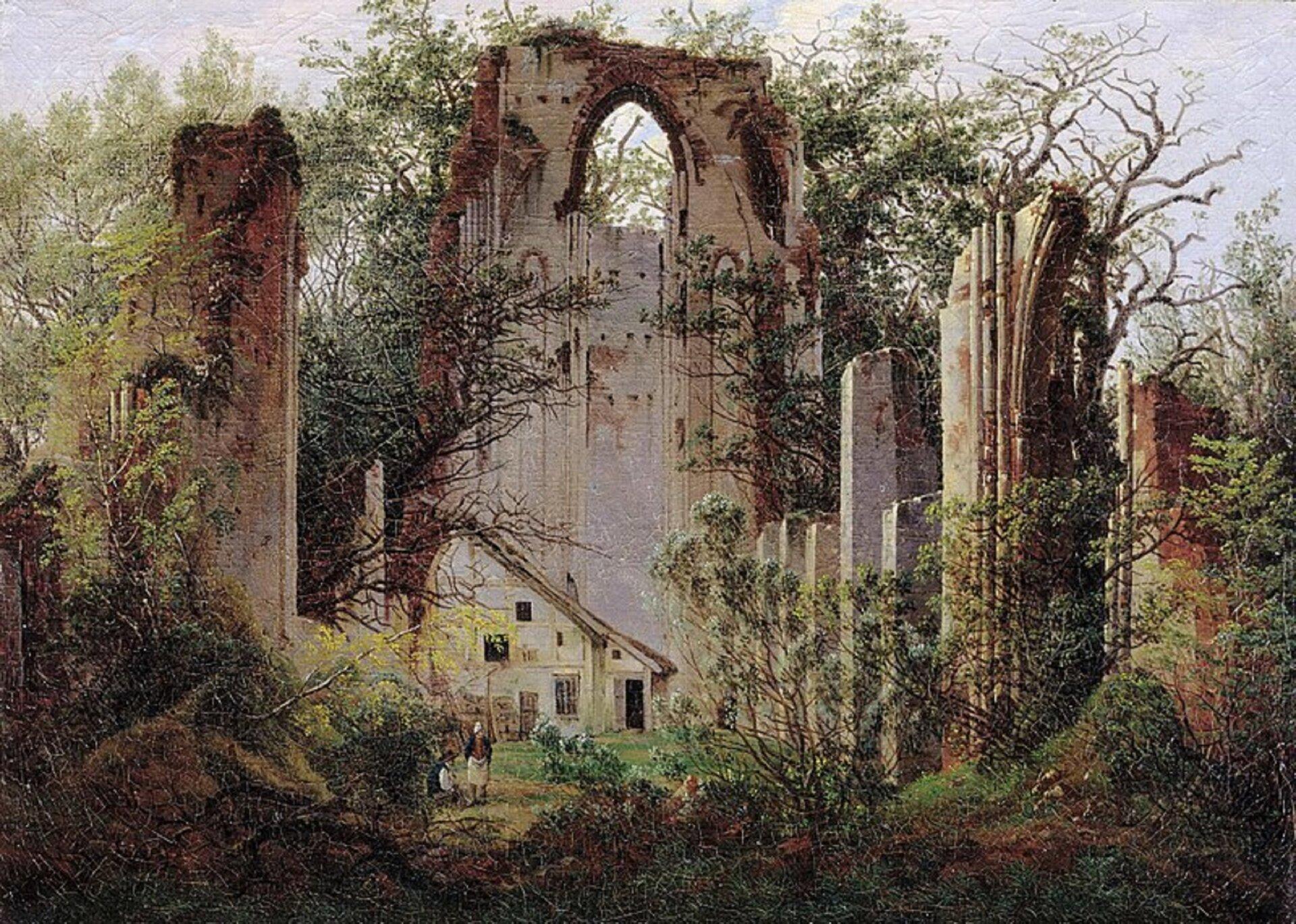 """Ilustracja okształcie poziomego prostokąta przedstawia obraz Caspara Davida Friedricha """"Ruiny klasztoru wEldenie"""". Ukazuje ruiny usytuowane wśród drzew ikrzewów. Są one wysokie, sterczą pionowo wgórę. Fragment ściany wcentrum posiada strzeliste okno wgórnej części. Przed nią stoi niewielki dom. Ruiny wypełniają prawie cały obraz, tworzą jedynie wgórnej partii  prześwit na fragment nieba."""