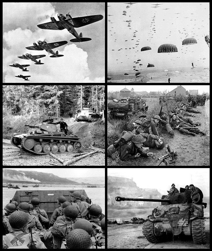 Od góry, od lewej: niemieckie samoloty podczas bitwy oAnglię (1940), alianckie wojska podczas operacji Market Garden (1944), niemieckie czołgi we Francji (1940), żołnierze brytyjscy wHolandii (1944), lądowanie wojsk amerykańskich wNormandii,(1944), brytyjski czołg wBelgii (1944) Od góry, od lewej: niemieckie samoloty podczas bitwy oAnglię (1940), alianckie wojska podczas operacji Market Garden (1944), niemieckie czołgi we Francji (1940), żołnierze brytyjscy wHolandii (1944), lądowanie wojsk amerykańskich wNormandii,(1944), brytyjski czołg wBelgii (1944) Źródło: licencja: CC BY-SA 3.0.