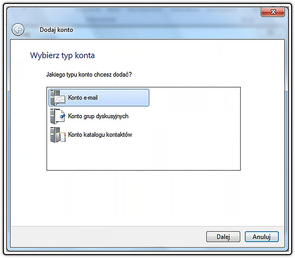 Slajd 1 galerii zrzutów okien procesu konfiguracji klienta iobsługi konta