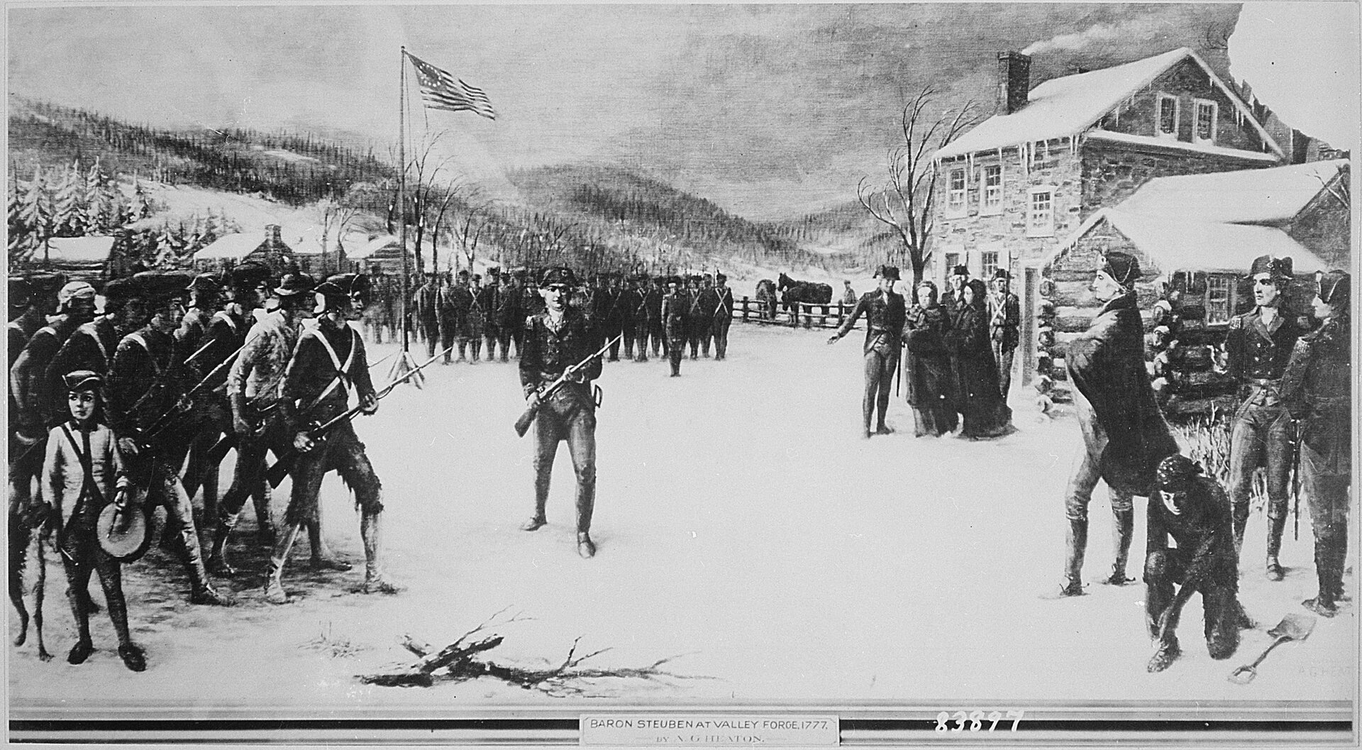 Generał von Steubena Obrazprezentujący gen. von Steubena który szkolił armię kontynentalną wValley Forge po początkowych klęskach armii rewolucyjnej. Ochotnicza armia dowodzona przez gen. Jerzego Waszyngtona początkowo nie miała szans wstarciu zregularnymi, dobrze przeszkolonymi oddziałami brytyjskimi. Dopiero mordercze ćwiczenia narzucone przez dawnego pruskiego oficera przekształciły armię amerykańską wsiłę zdolną pokonywać Brytyjczyków. Źródło: Generał von Steubena, 1777, National Archives and Records Administration, College Park, domena publiczna.