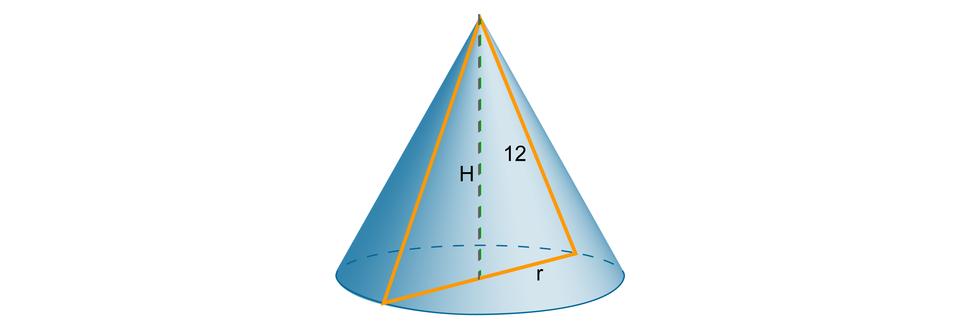 Rysunek stożka owysokości H, promieniu podstawy ritworzącej równej 12. Zaznaczony trójkąt będący przekrojem osiowym stożka.