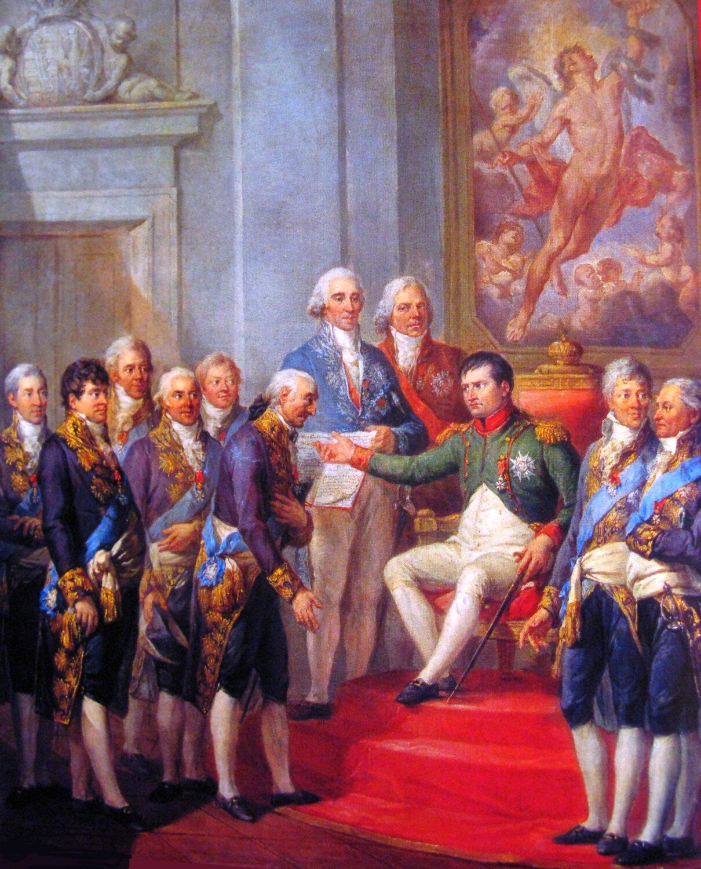 Napoleon nadaje konstytucję Księstwu Warszawskiemu 22 lipca 1807 Źródło: Marcello Bacciarelli, Napoleon nadaje konstytucję Księstwu Warszawskiemu 22 lipca 1807, 1811, olej na płótnie, Muzeum Narodowe wWarszawie, domena publiczna.