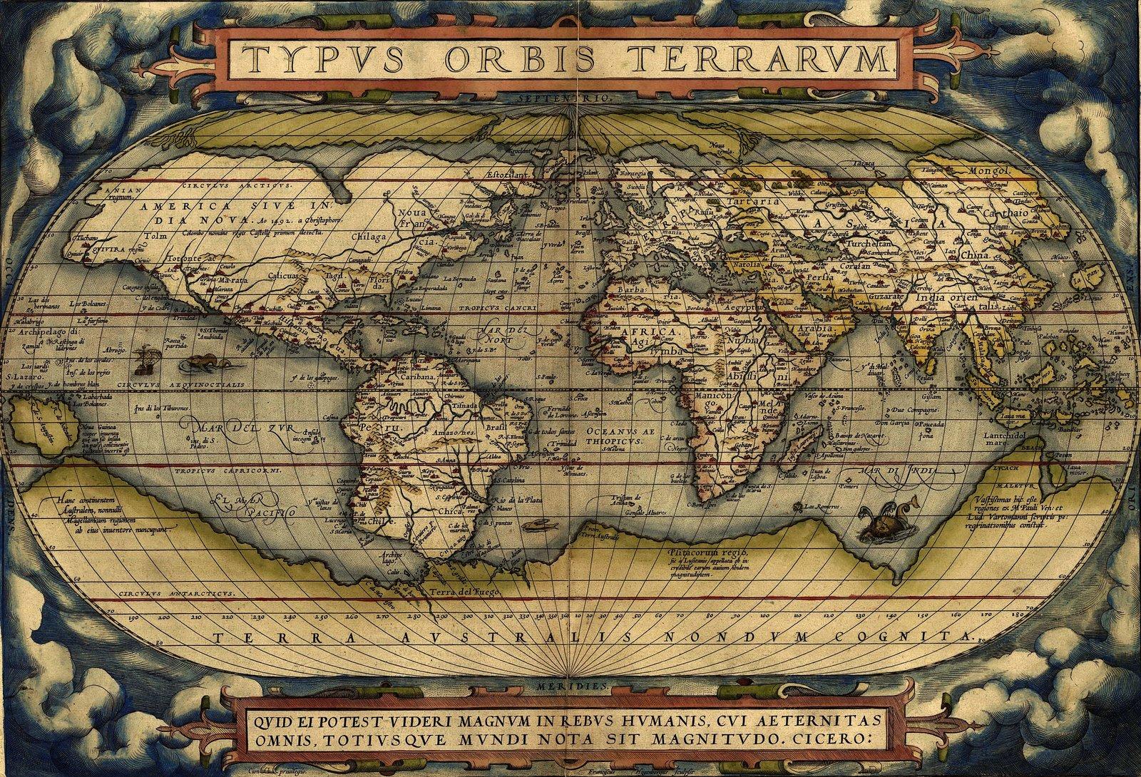 Mapa świata Orteliusa, 1570 Mapa świata Orteliusa, 1570 Źródło: Abraham Ortelius, domena publiczna.
