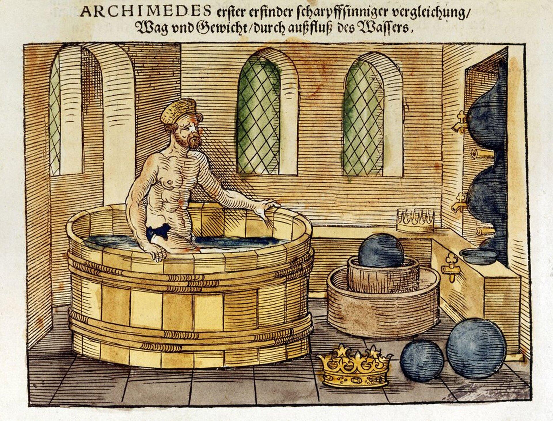 """Rysunek ma postać ilustracji ze starodruku. Ugóry rysunku znajduje się napis wjęzyku niemieckim napisany gotykiem. Wyróżnia się pierwsze słowo """"ARCHIMEDES"""". Rysunek przedstawia wnętrze antycznej łaźni. Wcentrum rysunku znajduje się okrągła balia, wktórej zanurzony jest do połowy uda Archimedes. Jest to moment, wktórym odkrył prawo nazywane jego imieniem. Sugerują to widoczne na ilustracji atrybuty m.in. leżąca na posadzce złota korona. To właśnie sprawdzając czy jest ona szczerozłota Archimedes zwrócił uwagę jak wypierają wodę zanurzone wniej przedmioty isformułował prawo nazywane dziś prawem Archimedesa."""