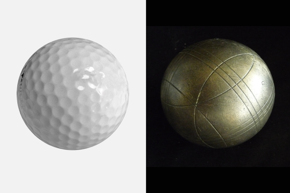 Fotografia przedstawia plastikową piłę ikulę metalową tej samej wielkości.