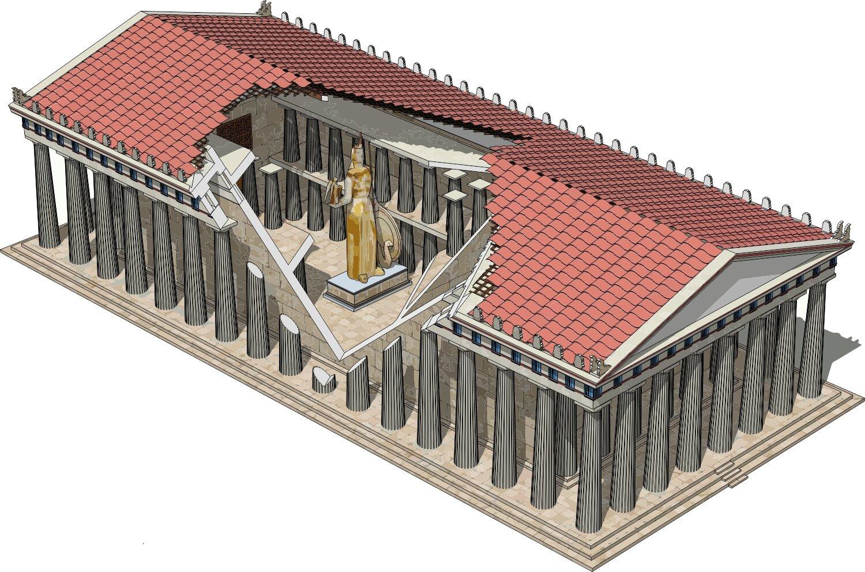Widok zgóry świątyni greckiej. Pokryty czerwonymi dachówkami dach wsparty jest na kamiennych kolumnach. Część dachu jest otwarta iwidać przez nią wnętrze świątyni, gdzie po środku stoi rzeźba wkolorze złotym przedstawiającapostać kobiety trzymającej na reku ptaka.