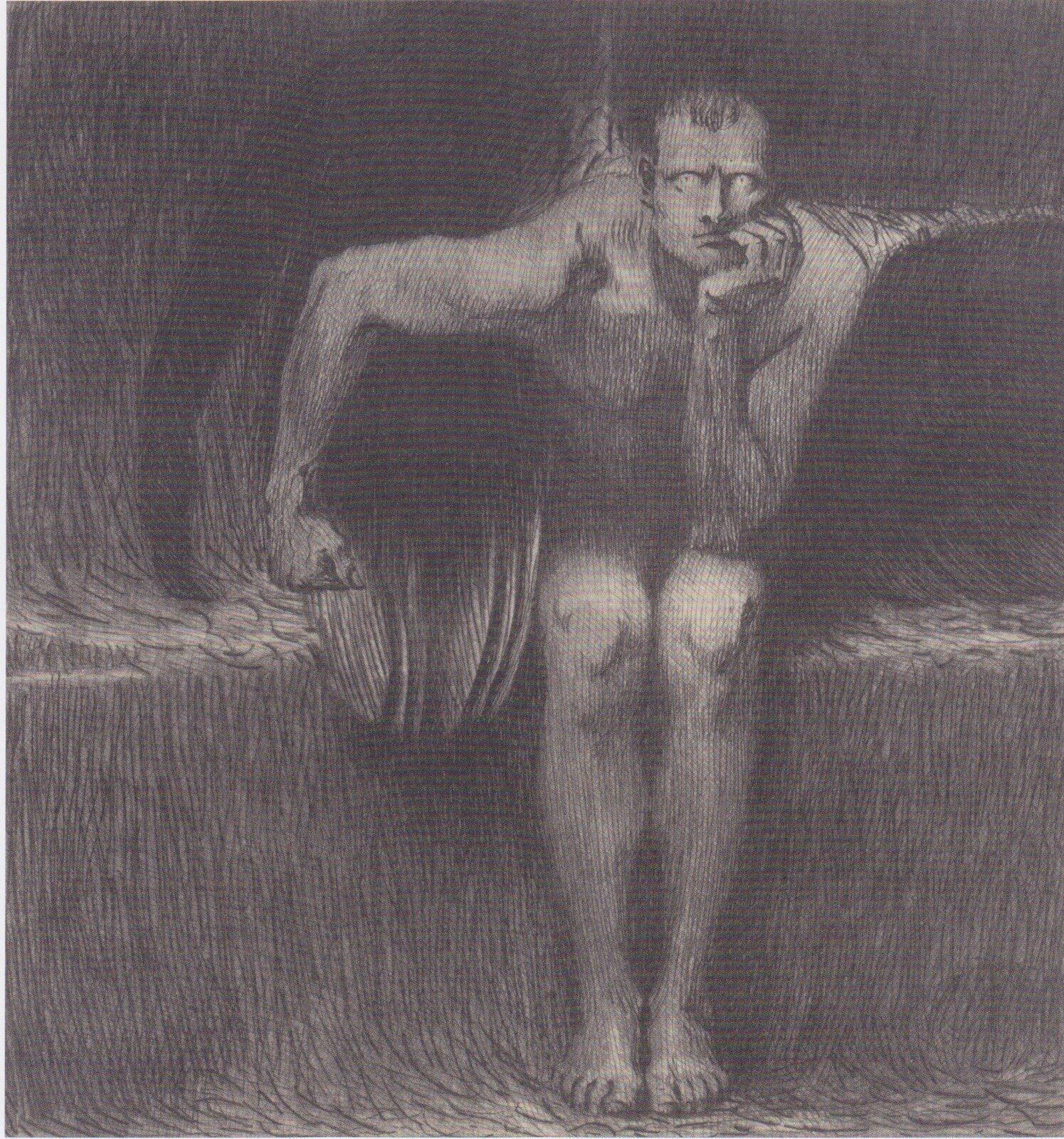 Franz von Stuck, Lucyfer, 1890, akwaforta na papierze Franz von Stuck, Lucyfer, 1890, akwaforta na papierze Źródło: domena publiczna.