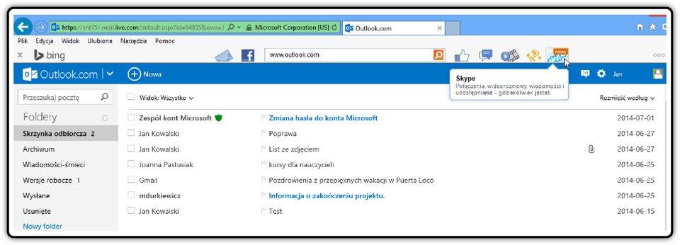 Zrzut skrzynki odbiorczej poczty Outloock.com zwidocznym paskiem narzędzi Bing Bar