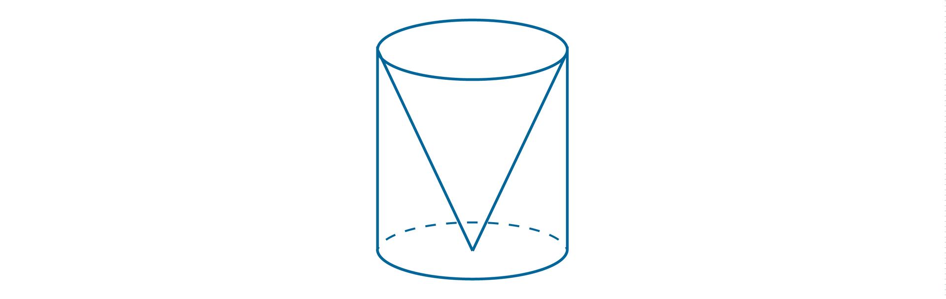 Rysunek walca iumieszczonego wnim stożka. Bryły mają te same wysokości ite same średnice podstaw.