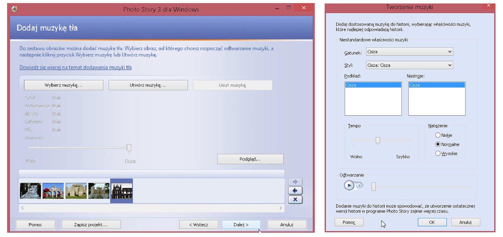 Zrzut okien: Dodaj muzykę tła oraz Tworzenie muzyki wprogramie Photo Story 3 dla Windows