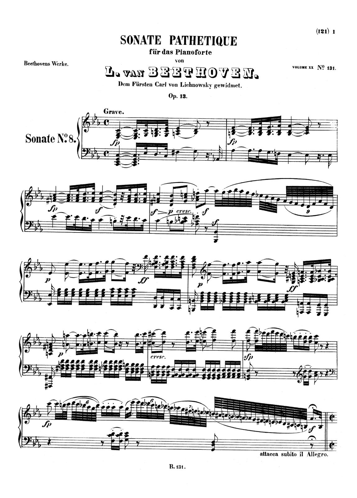 """Zdjęcie przedstawia graficzny utwór muzyczny. Fotografia ukazuje czarną pięciolinię znutami, na białej stronie utworu Ludwig van Beethoven – """"Sonata fortepianowa c-moll"""" op. 13 """"Patetyczna"""", cz. III."""