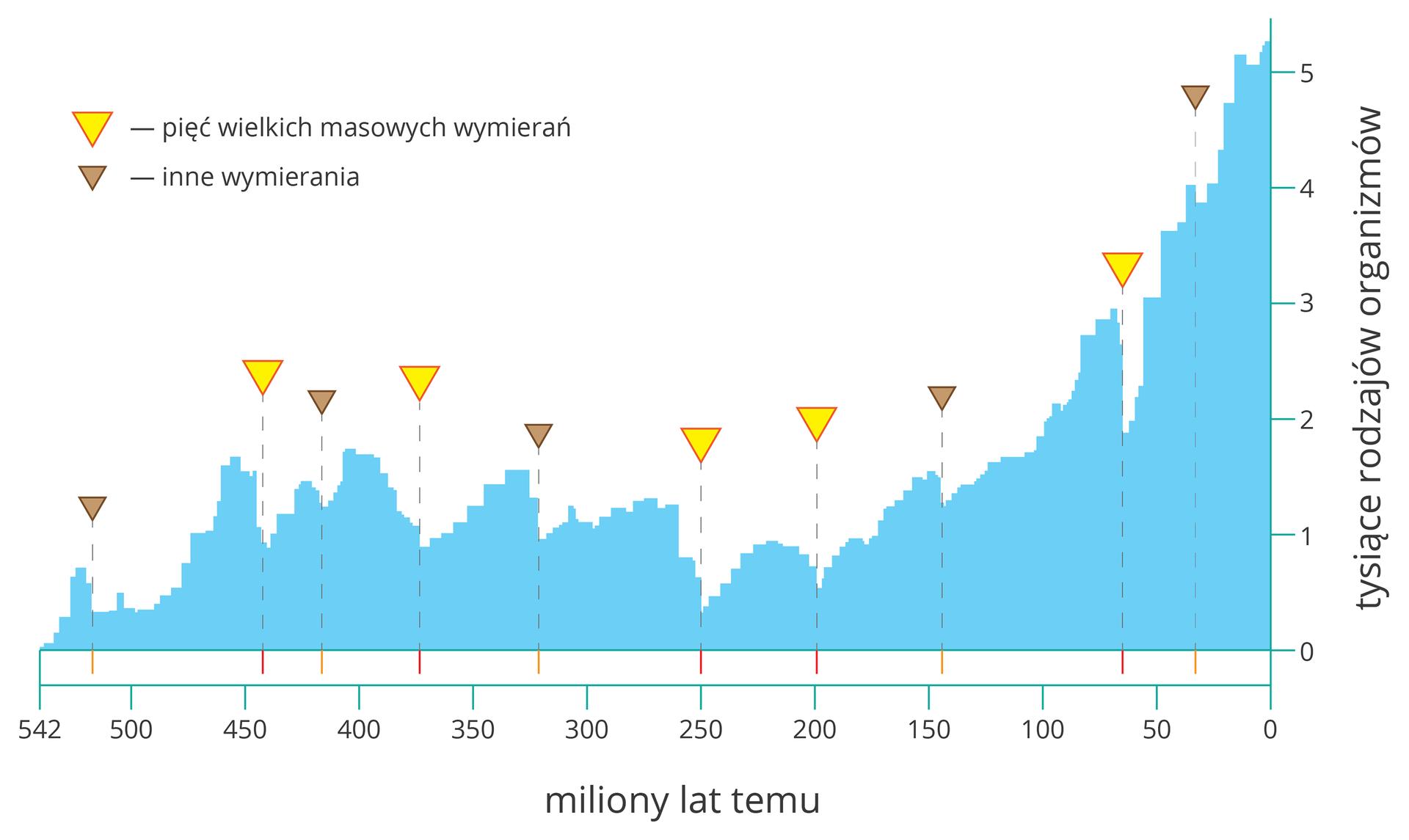 Aplikacja przedstawia mIlustracja przedstawia diagram słupkowy wkolorze błękitnym. Oś Xwyskalowano od prawej do lewej ipodpisano: miliony lat temu. Oś Ypodpisano: tysiące rodzajów organizmów iwyskalowano do pięciu. Żółte trójkąty oznaczają masowe wymierania. Brązowe trójkąty symbolizują inne wymierania.