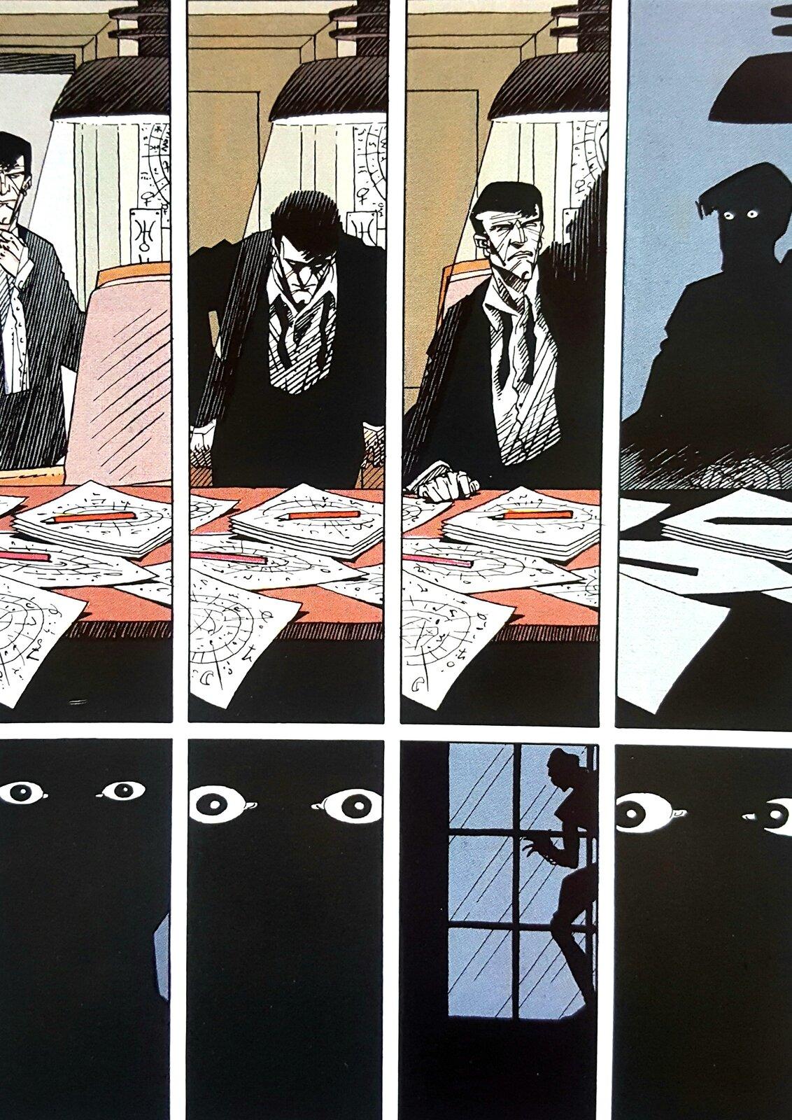 """Ilustracja przedstawia fragment komiksu Andreasa """"Rork. Koziorożec"""". Ilustracja zawiera osiem rysunków. Pierwsze cztery ukazują mężczyznę przy biurku, który najpierw uważnie przygląda się rozrzuconym na stole kartkom, następnie gasi światło. Na kolejnych czterech polach widać ciemności itylko spoglądające oczy. Za oknem skrada się postać."""