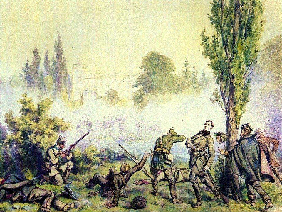 Bitwa pod Miłosławiem Źródło: Juliusz Kossak, Bitwa pod Miłosławiem, 1868, domena publiczna.