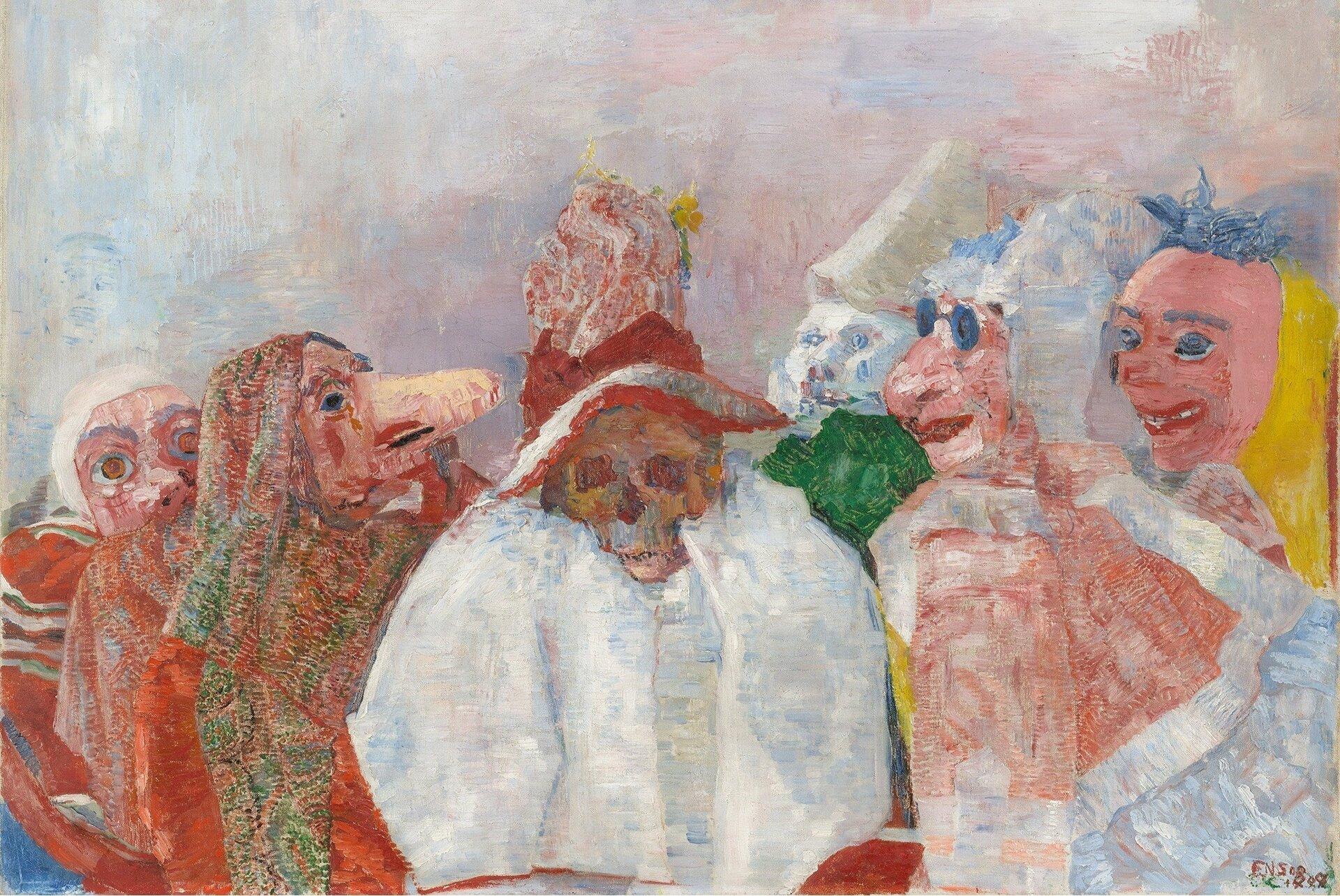 """Ilustracja przedstawia obraz Jamesa Ensora pt. """"Maski iśmierć"""". Dzieło ukazuje elementy symboliczne oraz fantastyczne. Wcentralnej części obrazu widoczna jest postać kościotrupa wbiałej szacie iczerwonym kapeluszu. Pozostałe postaci chowają się za maskami. Na obrazie panuje klimat niepokoju spowodowany za pewne użyciem maski karnawałowej oraz czaski."""
