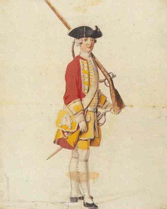 Piechurarmii saskiej zokresu Augusta II Mocnego. Na rysunku pokazane zostały typowe elementy sił zbrojnych armii tworzonych wXVIII w. Było to jednorodne mundury, broń strzelecka, identyczne sakwy na naboje iproch. Piechurarmii saskiej zokresu Augusta II Mocnego. Na rysunku pokazane zostały typowe elementy sił zbrojnych armii tworzonych wXVIII w. Było to jednorodne mundury, broń strzelecka, identyczne sakwy na naboje iproch. Źródło: domena publiczna.