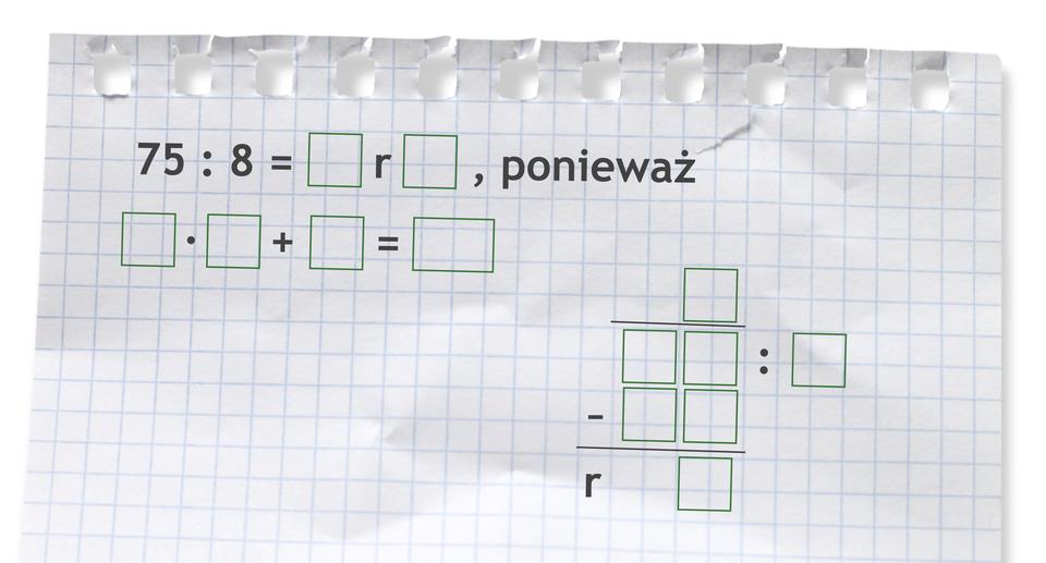 Miejsce do wykonania dzielenia zresztą: 75 dzielone przez 8.