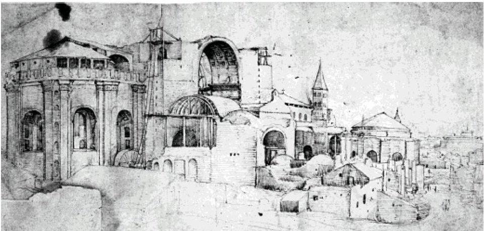 Budowa nowej Bazyliki św Piotra wRzymie Źródło: Pieter Coecke, Budowa nowej Bazyliki św Piotra wRzymie, XVI, domena publiczna.