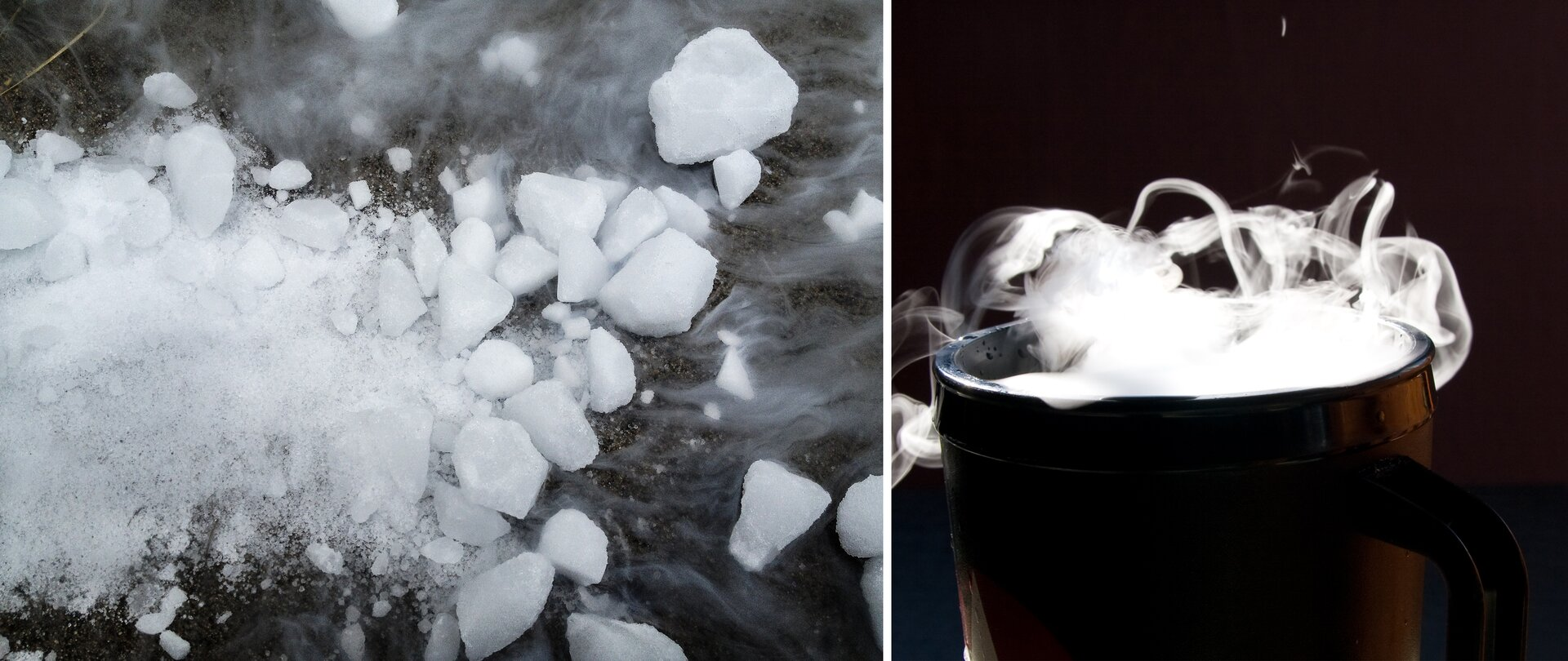 Ilustracja składa się zdwóch sąsiadujących ze sobą zdjęć. Na zdjęciu po lewej stronie widać pokruszone grubiej idrobniej kawałki białej substancji zktórej unoszą się białe opary. Na zdjęciu po prawej stronie znajduje się ukazane wpółmroku metalowe naczynie zktórego unoszą się gęste, białe opary.