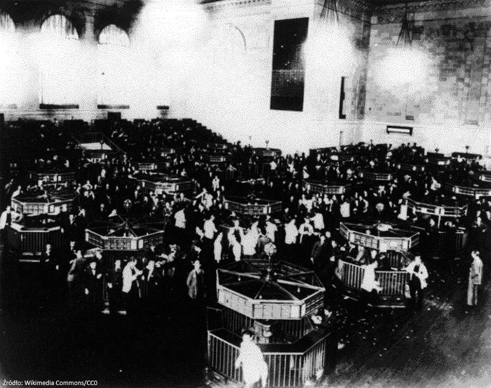 Amerykańska giełda wkrótce po krachu Źródło: Amerykańska giełda wkrótce po krachu, Fotografia, domena publiczna.