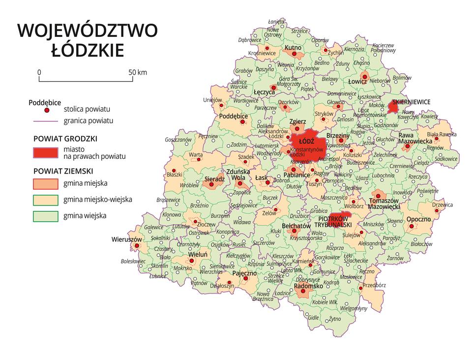 Mapa województwa łódzkiego. Na mapie fioletowymi liniami zaznaczono granice powiatów ziemskich, dużymi czerwonymi kropkami zaznaczono miasta będące stolicami powiatów. Wobrębie powiatów ziemskich kolorami wyróżniono gminy miejskie, miejsko-wiejskie iwiejskie. Czerwonym kolorem wyróżniono powiaty grodzkie zmiastami na prawach powiatu, miasta te opisano dużymi literami. Kolory iznaki użyte na mapie opisano wlegendzie. Wlegendzie podziałka liniowa.