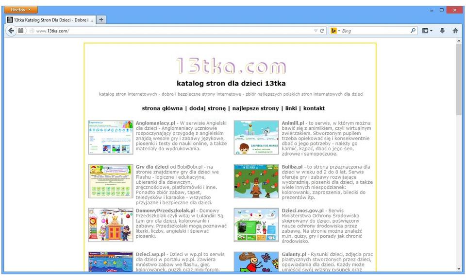 Zrzut okna strony internetowej www.13tka.com