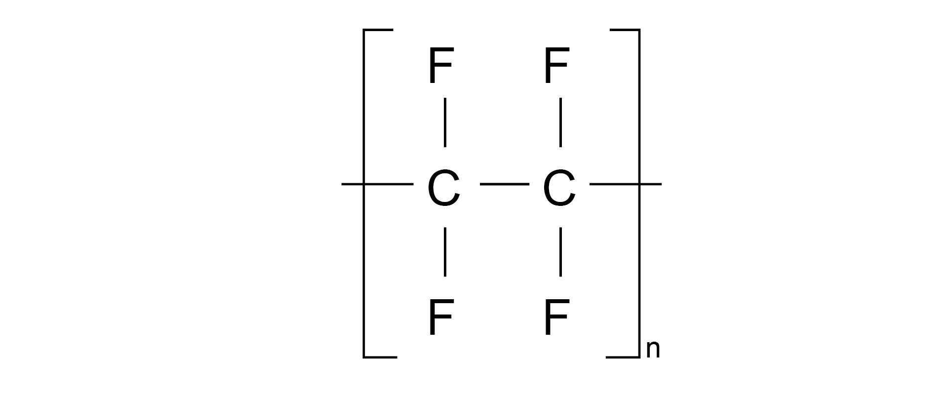 Ilustracja pokazuje wzór strukturalny politetrafluoroetylenu.