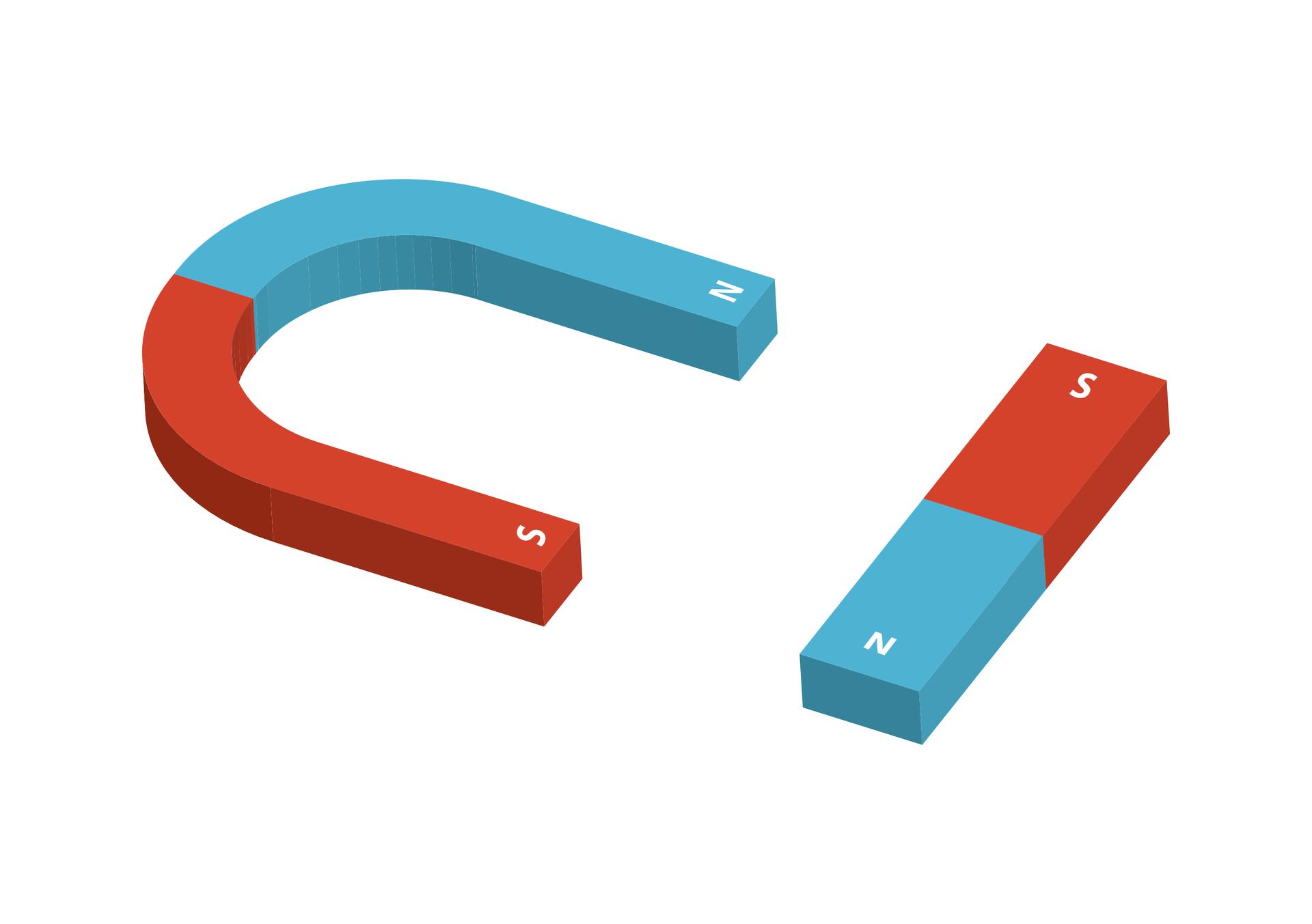 Ilustracja przedstawia dwa magnesy. Magnes podkowiasty isztabkowy. Pierwszy ma kształt podkowy. Drugi ma kształt prostopadłościanu. Na obu oznaczono bieguny. Jedna połowa pierwszego magnesu ma kolor niebieski. Oznaczona została literą N. Druga połowa ma kolor czerwony. Oznaczona literą S. Wdrugim magnesie jedna połowa ma kolor niebieski ioznaczenie N. Druga połowa ma kolor czerwony ioznaczenie S.
