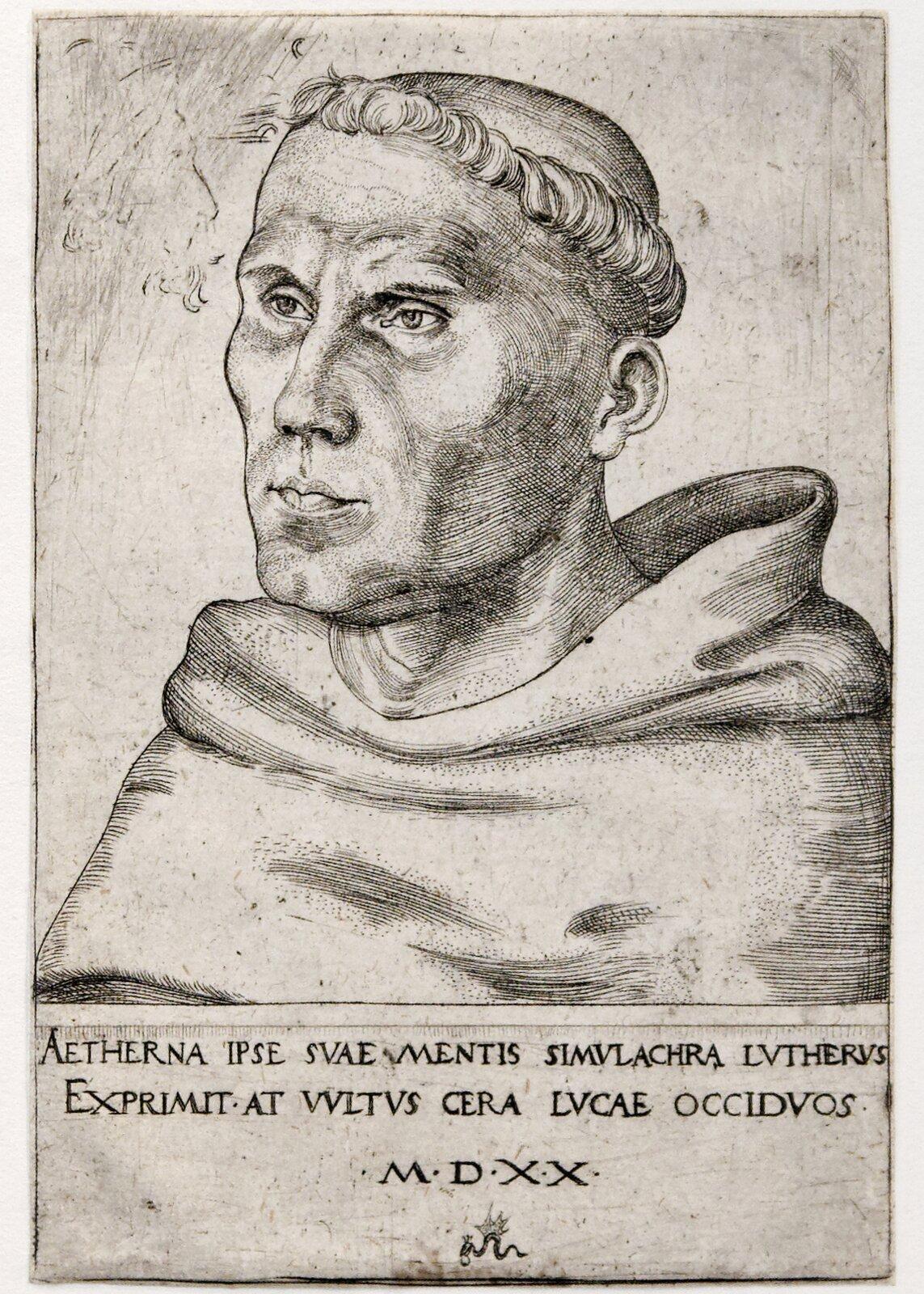 Marcin Luter jako mnich Źródło: Lucas Cranach młodszy, Marcin Luter jako mnich, 1520, miedzioryt, Victoria and Albert Museum, domena publiczna.