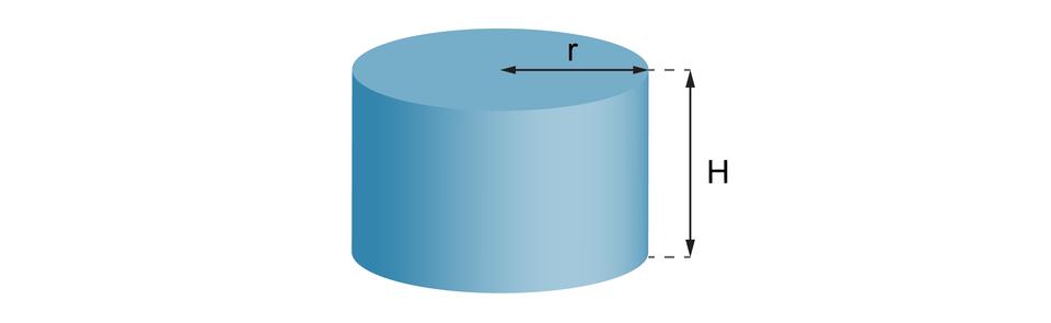 Rysunek walca owysokości równej Hipromieniu podstawy r.