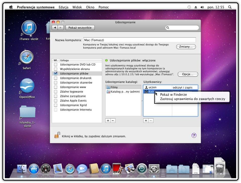 Ilustracja przedstawiająca: Krok 5 udostępniania innych katalogów wsystemie Mac OS X