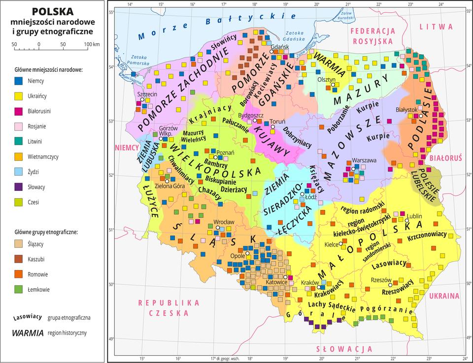 Ilustracja przedstawia mapę Polski zpodziałem na województwa. Na mapie oznaczono iopisano miasta wojewódzkie. Na mapie za pomocą kolorów przedstawiono regiony historyczne, które opisano. Za pomocą kolorowych sygnatur przedstawiono występowanie mniejszości narodowych igrup etnograficznych. Opisano nazwy grup etnograficznych.Główne mniejszości narodowe: Niemcy, Ukraińcy, Białorusini, Rosjanie, Litwini, Wietnamczycy, Żydzi, Słowacy, Czesi.Główne grupy etniczne: Ślązacy, Kaszubi, Romowie, Łemkowie.Dookoła mapy wbiałej ramce opisano współrzędne geograficzne co jeden stopień. Wlegendzie mapy objaśniono kolory użyte na mapie
