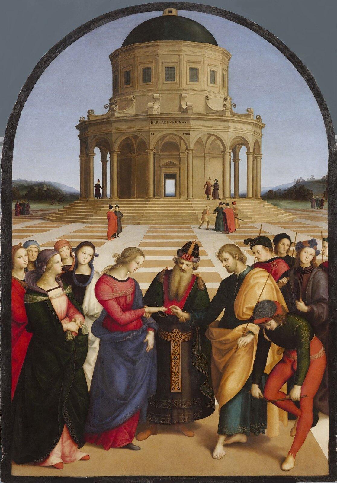 """Ilustracja przedstawia dzieło Rafaela Santi """"Zaślubiny Marii zJózefem"""". Obraz podzielony jest wyraźnie na dwie części, górną idolną. Wdolnej znajduje się scena zaślubin. Pośrodku stoi kapłan, po lewej kobieta ijej orszak składający się zpięciu kobiet odelikatnych rysach twarzy ipełnych wdzięku pozach. Po prawej stoi mężczyzna zgałęzią pokrytą kwiatami iczterej mężczyźni. Na obrazie jest dwanaście postaci. Postać młodzieńca wprawym rogu obrazu, przełamującego gałązkę, jest częstym motywem wikonografii zaślubin. Wgórnej połowie obrazu widoczny jest budynek wstylu tempietta Bramantego. Budynek jest okrągły zfilarami wdolnej kondygnacji ioknami wgórnej. Widać również spacerujących ludzi ispokojny pejzaż wtle."""