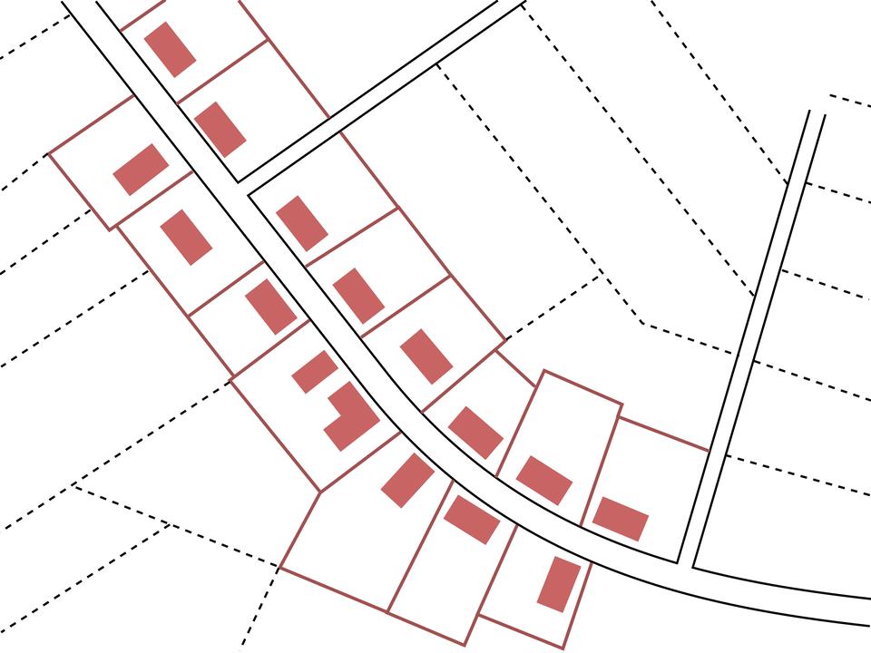 Na ilustracji schemat wsi ozwartej zabudowie położonej po obu stronach głównej drogi.