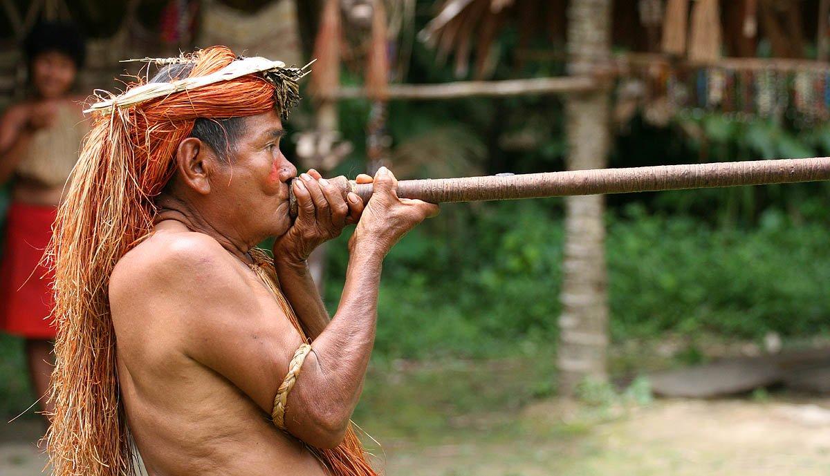 Indianin zpołudniowoamerykańskiego plemieniaYagua prezentuje zastosowanie dmuchawki Indianin zpołudniowoamerykańskiego plemieniaYagua prezentuje zastosowanie dmuchawki Źródło: Jialiang Gao, licencja: CC BY-SA 4.0.
