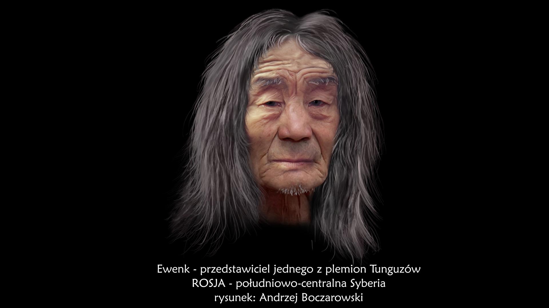 Ilustracja prezentuje portret Ewenka. Jest to, starszy mężczyzna ojasnej karnacji, pociągłej płaskiej twarzy, krótkim czole ze zmarszczkami oraz długich czarnych włosach zpasmami włosów siwych.