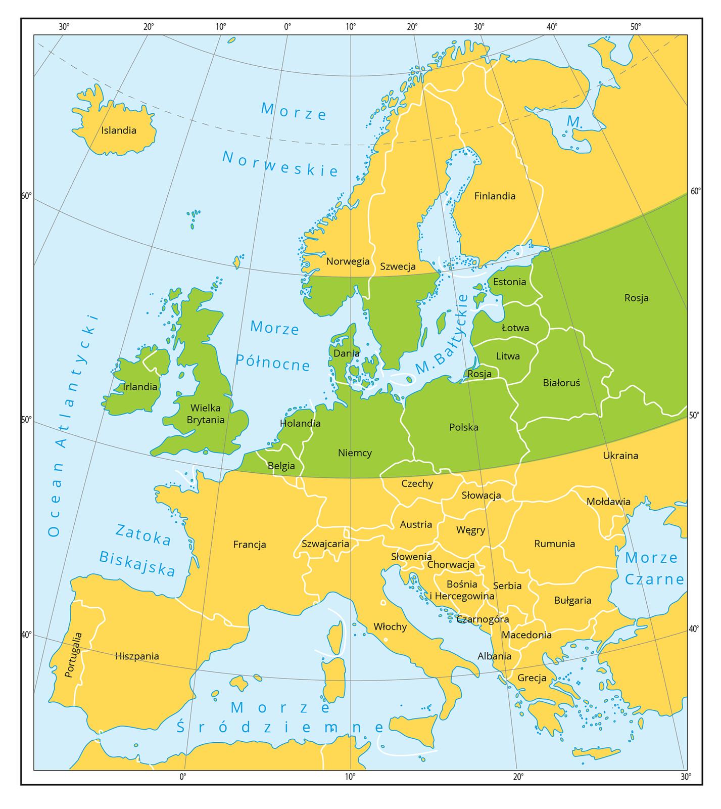 Ilustracja przedstawia mapę Europy wKolorzach: pomarańczowym izielonym. Zielony oznacza strefę korzystną do uprawy ziemniaka.