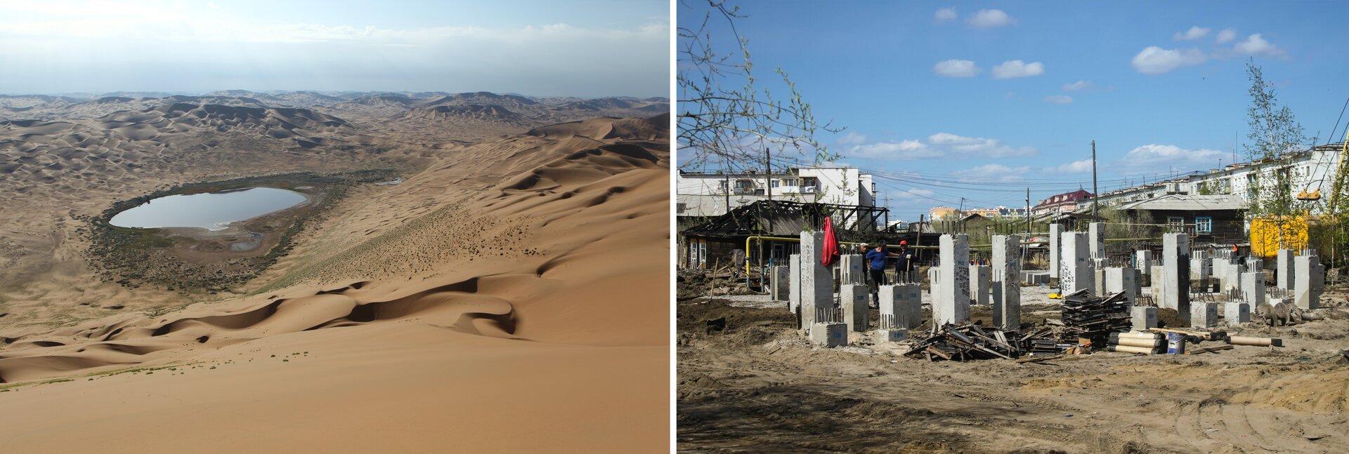 Pustynia wChinach, wsuchym wnętrzu Azji; Budowa domu na palach wJakucku, gdzie wpodłożu występuje wieloletnia zmarzlina