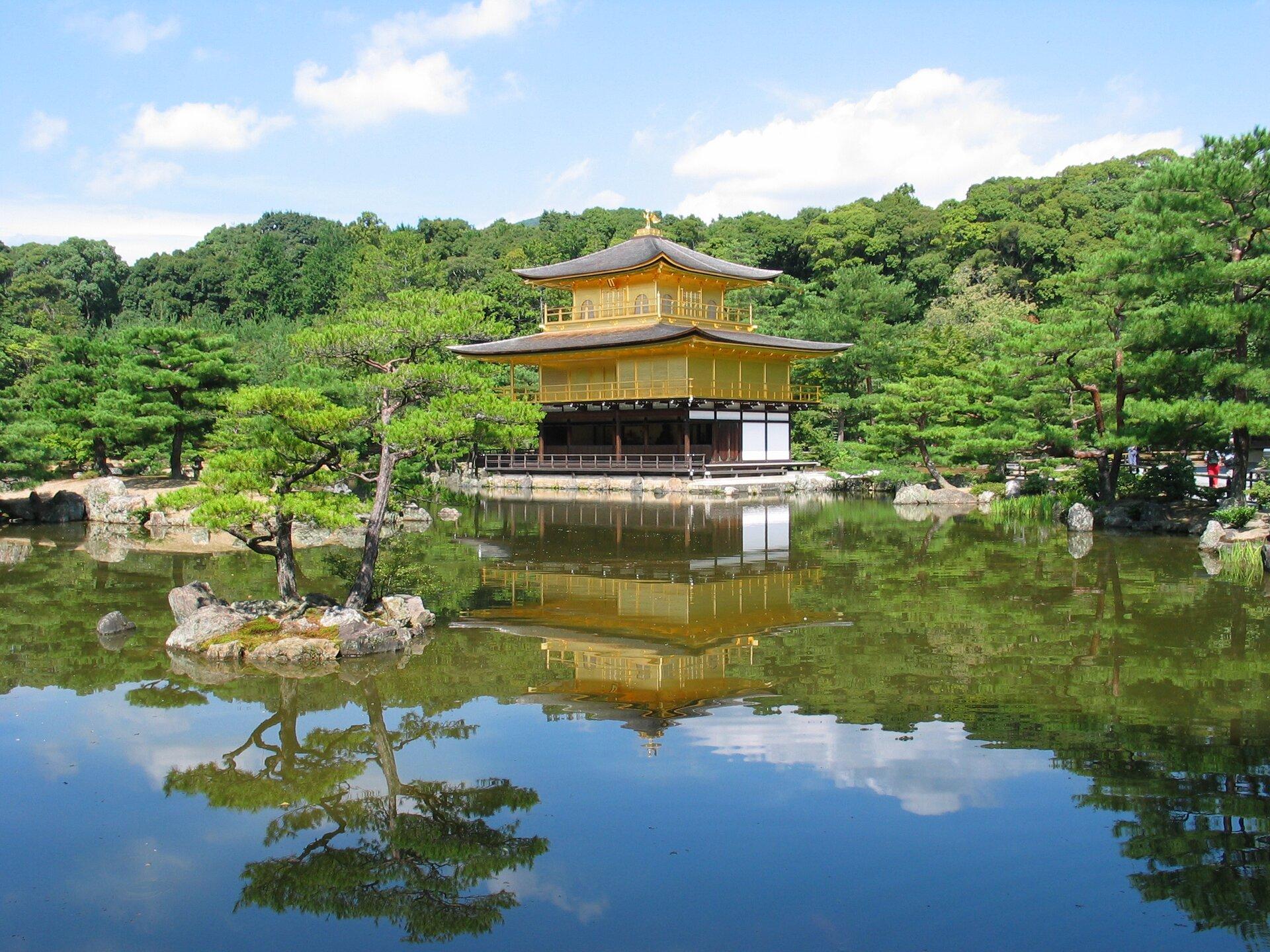 Na zdjęciu typowa japońska świątynia udekorowana złotem. Położona nad wodą wparku. Bujna roślinność.